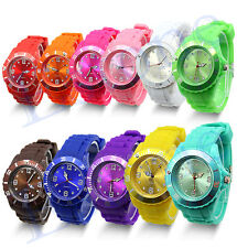Unisex Stylish Silicon Jelly Strap Women Lady Girls Wrist Watch Colorful