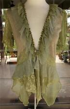 Pretty Angel Lacy Ruffle Trim Light Green Knit Split Sleeves Blouse Sz. S,M,L