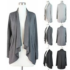 Womens Plus Size Open Draped Cardigan Long Sleeve Sweater Hacci Knit Solid Top
