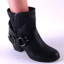 New Womens Black Aged Leather Look Harness Belt Ankle Boots