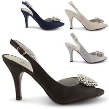 NEW WOMENS PLATFORM HEELS HIGH HEEL SLINGBACK PEEP TOE LADIES COURT SHOES SIZE
