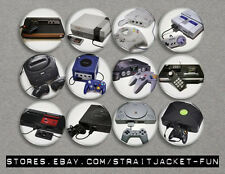 """OLD SCHOOL VIDEO GAME CONSOLES 1.25"""" Pinback Button, Magnet, or Full Set / Lot"""