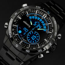 INFANTRY Army Sport Digital Analog Chronograph Mens Stainless Steel Wrist Watch