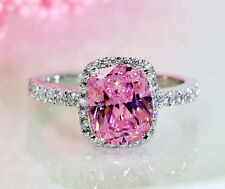 Stunning Cushion Pink Sapphire Diamonique 925 Silver Wedding Ring Sz 5-10 Gift