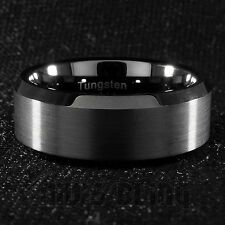 8mm Tungsten Carbide BLACK Wedding Band Engagement Bridal Ring Gunmetal Men