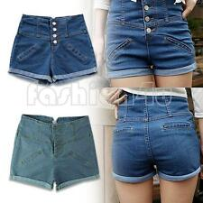 lady's women button high waist cotton jeans shorts short pants 2 color l m s