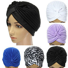 Unisex Indian Cap Pleated Head Wrap Turban Stretchy Band Hat Cloche Chemo Hijab