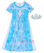 Disney Frozen Elsa Costume Children Kids Dress Pajama Night Gown Tiara Crown 3-8