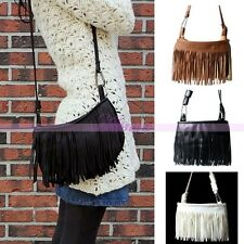 Fashion Women Ladies Handbags Leather Tassel Suede Fringe Messenger Shoulder Bag
