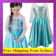 02 Frozen Disney Princess Girl Queen Elsa Anna Costume Cosplay Party Fancy Dress