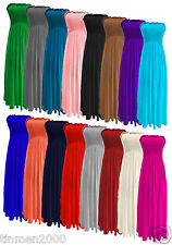 New Womens Long Sheering Maxi Gather Boobtube Bandeau Strapless Dress Plus Size