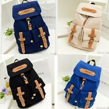 Cute Women's Vintage Canvas Satchel Backpack Rucksack Shoulder School Bag Black