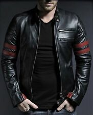 Leather Jacket Men Motorcycle New Mens Lambskin Black Coat Biker S M L XL #552