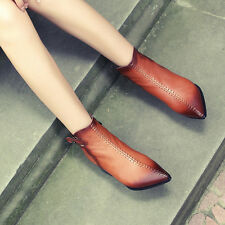 Retro Womens Buckle Pointy toe Block High heel martin Ankle Boots Ladies Shoes