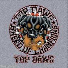 Top Dawg Rottweiler Breed Of Champions Circle Logo Graphic Gray T Shirt