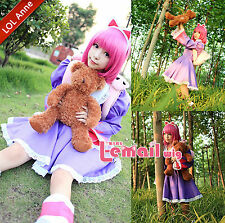 League of Legends Annie LOL Purple Custome Uniform Cosplay Party Dress Costume