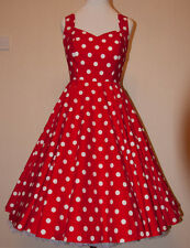 Rockabilly Pin Up Vintage Full Circle Swing 40s 50s Red White Polka Dot Dress