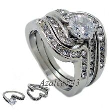 2-in-1 Swarovski Crystal CZ 316L Stainless Steel Engagement Wedding Band Ring