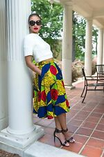 Vintage Inspired African Print Ankara Ethnic Circle Skirt with Pockets