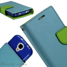 Flip Wallet Pouch Case PU Leather Folio Card Slot Cover Teal / Green +TPU