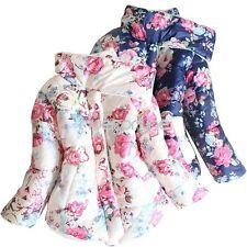Kids Winter Warm Coat Outwear Baby Girls Floral Thickened Down Jacket Snowsuit