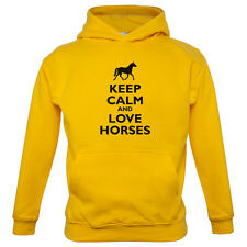 Keep Calm and Love Horses - Kids / Childrens Hoodie - Horse Riding - Riding