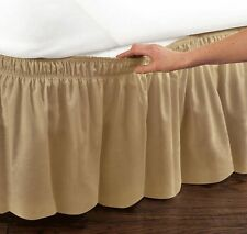 Twin / Full Queen / King Gold Bed Dust Ruffle Elastic Band Wrap Around Bedskirt
