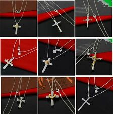 Wholesale 925 Sterling Silver Jewelry Pendant Christian Cross Necklace
