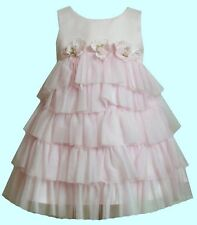 Bonnie Baby Girls Sleeveless Light Pink 5-Tier Tulle Ruffle Dress with Rosettes