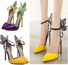 Womens Pointy Toe High Heel Ankle Strap Butterfly New Sexy Stilettos Pumps Shoes