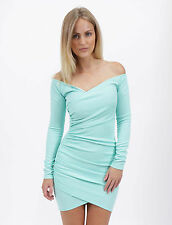 """IZZY"" Blue Bardot Wrap Bodycon Long Sleeve Mini Dress Sizes 6 8 10 12 New"