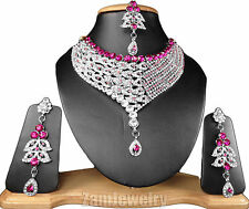 Bollywood Designer Kundan Silver Plated CZ Indian Jewelry Necklace Set