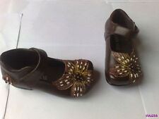 GIRLS BLACK OR BROWN DRESS SHOES SIZE 6 7 & 10 NEW BEAD FLOWER DESIGN