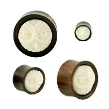 Pair Organic Black Wood Bone Owl Inlay Carving Plugs Double Flared CHOOSE SIZE