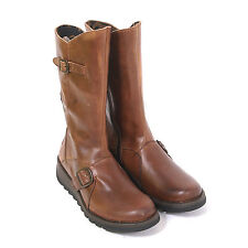 Fly London Women's Mes 2 Rug Leather Zip Wedge Boot Camel