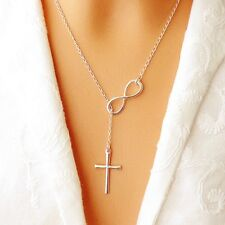 Celebrity Style infinity Love Forever cross Pendant Charm Chain necklace Fashion