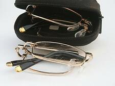 MT02Z Compact Folding Metal Reading Glasses,Gold Tip with Black Case +,Cloth