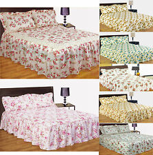 Vintage Quilted Floral Fitted Bedspread Comforter Set With Pillowshams