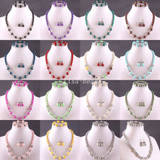 Mixed Free Shipping Multi-color Pearl Crystal Beads Necklace Bracelet Earring