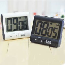 Large LCD Digital Kitchen Timer Count-Down Up Clock Loud Alarm Black White New
