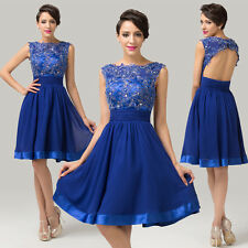 ❤ Tea Length ❤CHEAP~Applique Cocktail Bridesmaid Evening Prom Formal Short Dress