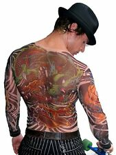 Wild Rose Mens DRAGON Tattoo Shirt Yakuza Style Full Chest Artwork Sheer Mesh