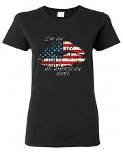 American Flag sexy Lips I'm an all American girl WOMAN T-SHIRT vintage USA tee