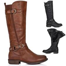 NEW WOMENS FLAT WIDE CALF KNEE HIGH BIKER MOTORCYCLE RIDING BOOTS SIZE US 5-10