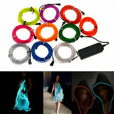 1M/2M/3M/4M/5M 10 colors Flexible EL Wire Neon Glow Light party car decoration