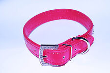 """Pet Palace """"Diva Doggy"""" RED Diamante Dog Collar Leather FREE FIRST CLASS POST"""