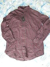 NWT Chaps by Ralph Lauren Black and Red Plaid Button Front Shirt