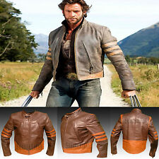 X Men Wolverine - Hugh Jackman - Mens Real Slimfit Leather Jacket For Halloween
