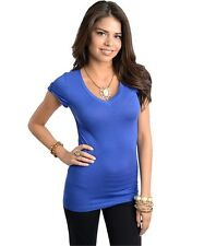 Womens 96% Rayon 4% Spandex Solid Color Cap Sleeve Basic Tops