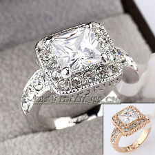 B1-R456 Fashion Solitaire Engagement Wedding Ring 18KGP Swarovski Crystal